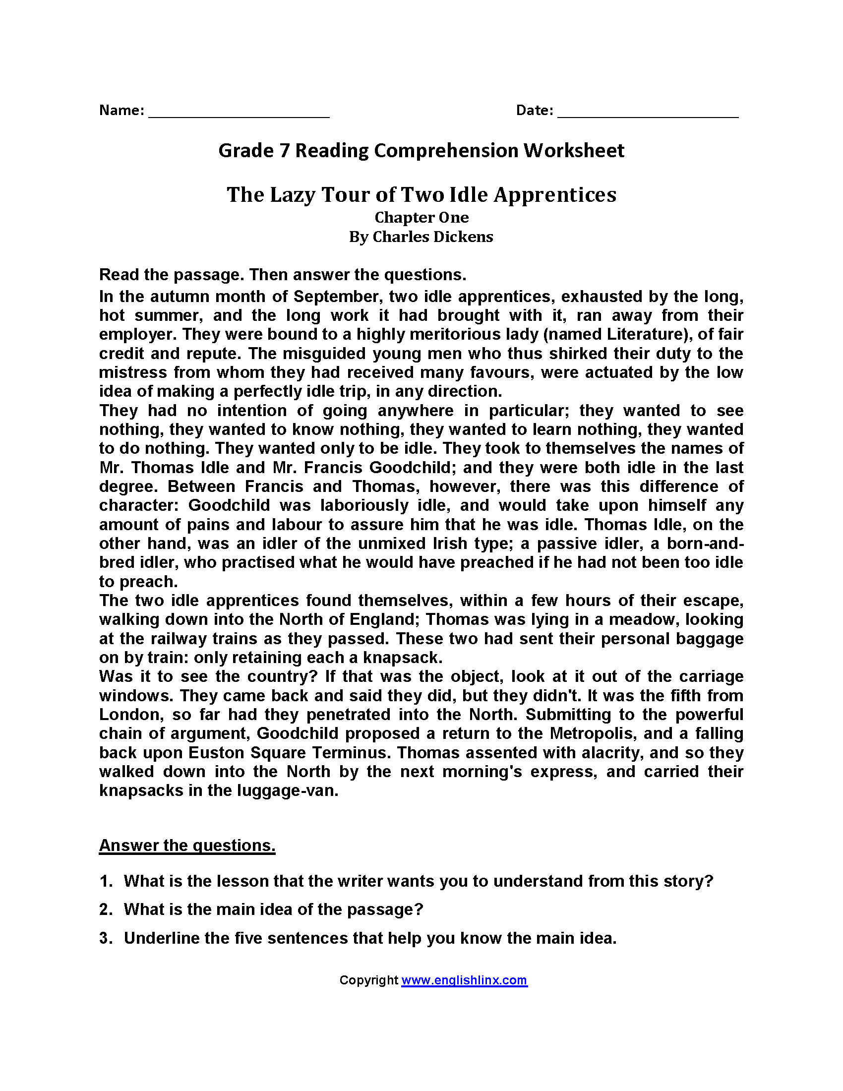 Lazy Tour Of Apprentices Seventh Grade Reading Worksheets