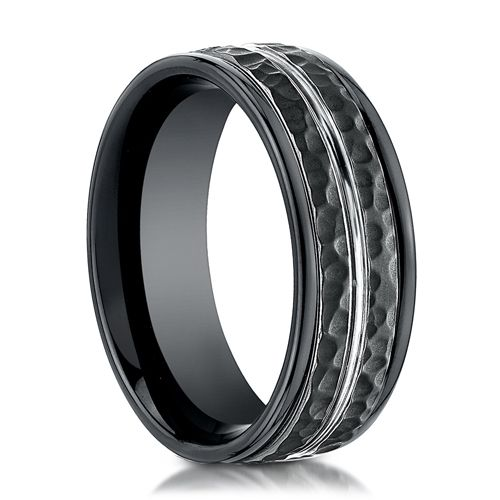Mens 8mm Black Cobalt Ring With Hammered Finish Black Rings Mens Wedding Rings Rings