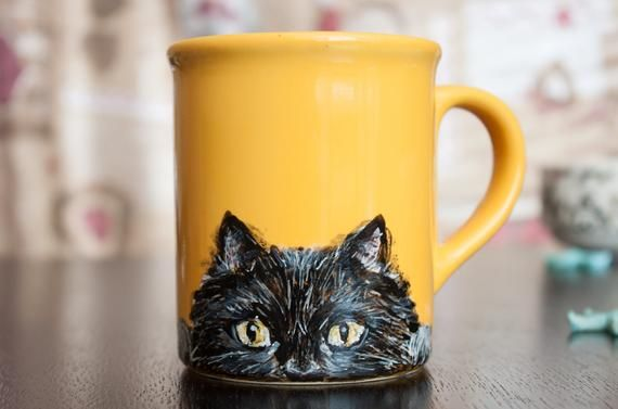 Cat mug, cup, kitty, blackcat, yellow , playful, tail