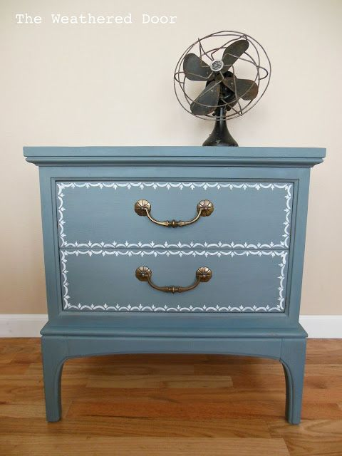 Best The Weathered Door Blue Nightstand With Hand Painted 400 x 300