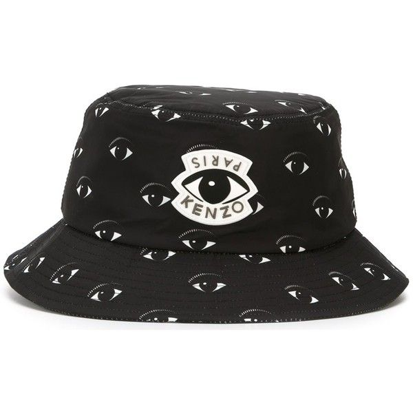 6e3930ab782 Kenzo 'Eye' bucket hat (225 BAM) ❤ liked on Polyvore featuring men's  fashion, men's accessories, men's hats and black