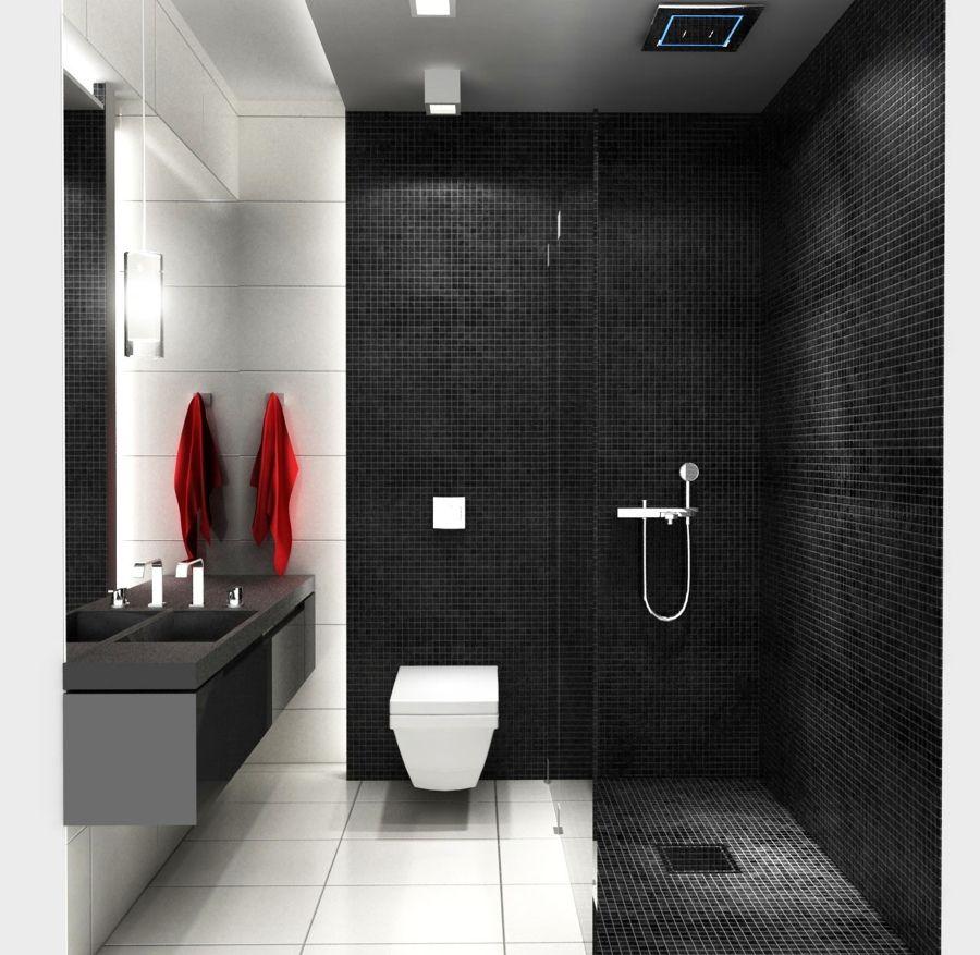 baño en negro y blanco con ducha | diseños de baños | pinterest