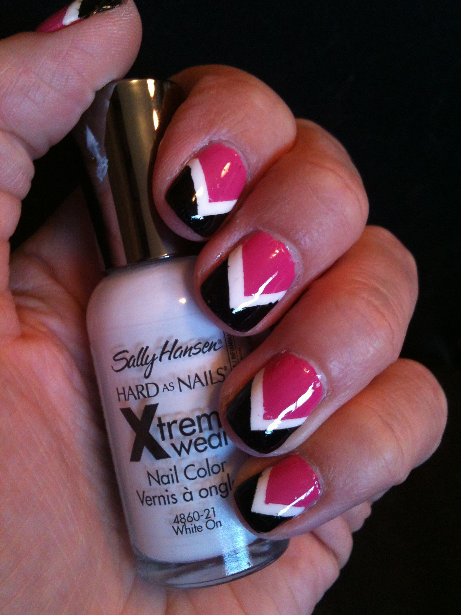 pink, white and black chevron #nails | my nail designs | pinterest