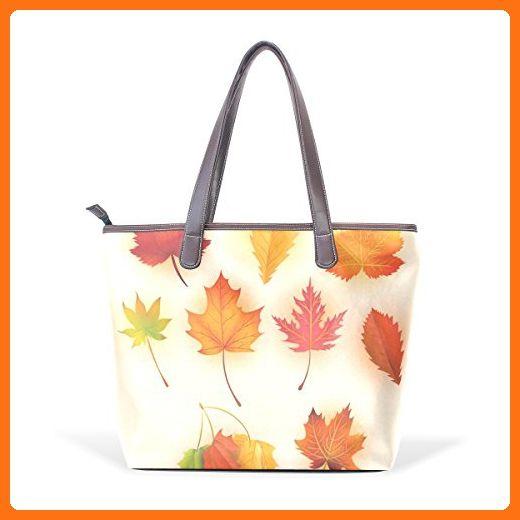 CCBHGY Women's fallen leaves Lotus Leather Handbag Zipper Shoulder Bag Tote Bag - Totes (*Amazon Partner-Link)