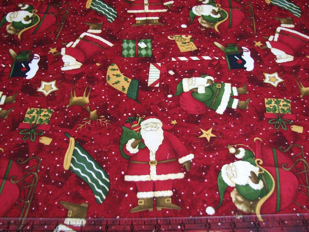 3 Yards Quilt Cotton Fabric - SSI Debbie Mumm Santa's Big Night Toss Red #SouthSeaImports