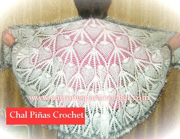 Patron de chal crochet semicirculo punto piñas | Crochet y Dos ...