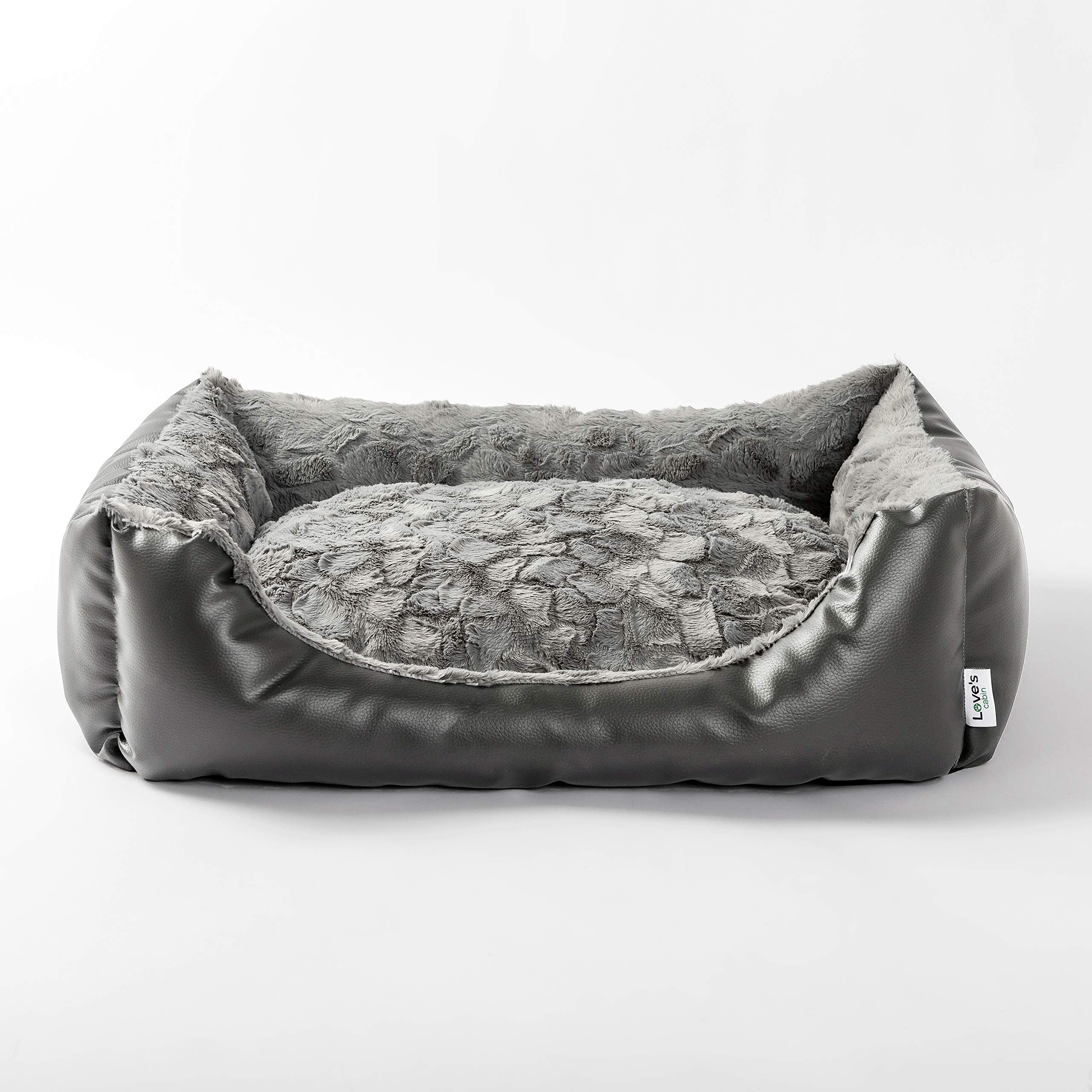 Love S Cabin 29in Large Dog Bed Faux Leather Pet Bed For Small