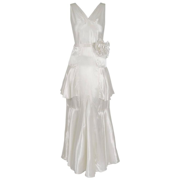f3a6704fb1c 1930 s Ethereal Ivory-White Satin Floral Applique Bias-Cut Tiered Deco Gown