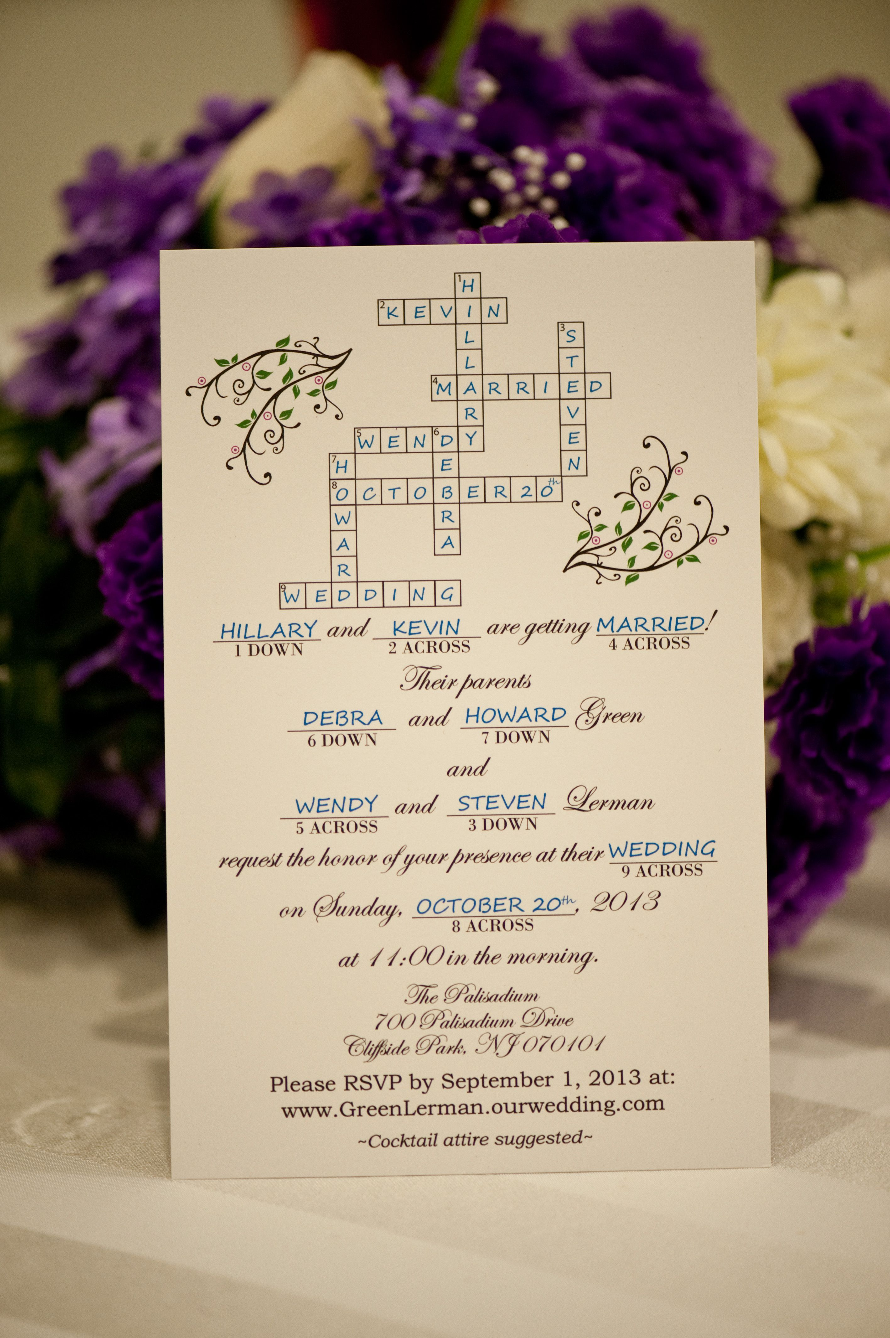 Crossword wedding invitations -- made in Illustrator and printed by ...