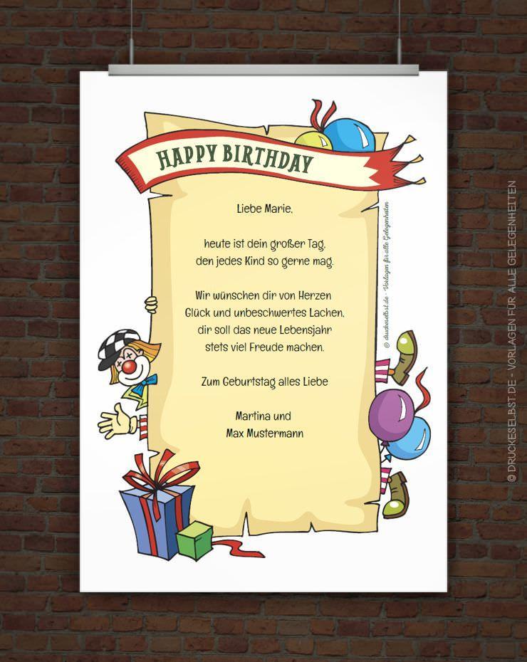 drucke selbst! kostenlose geburtstagskarte happy birthday