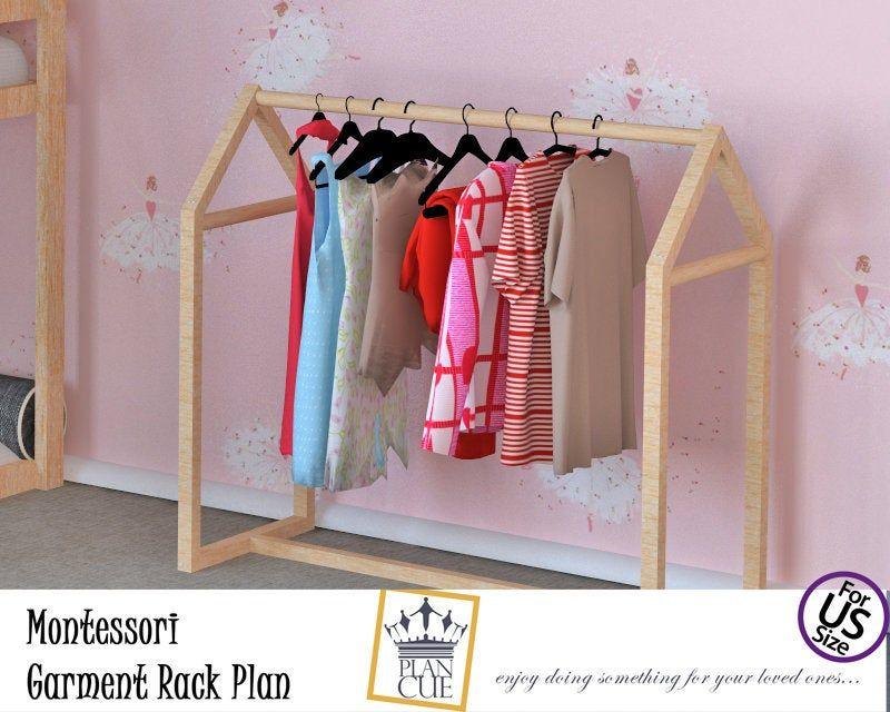 Montessori Garment Rack Plan Mini Kids Clothes Rack Wooden Rack