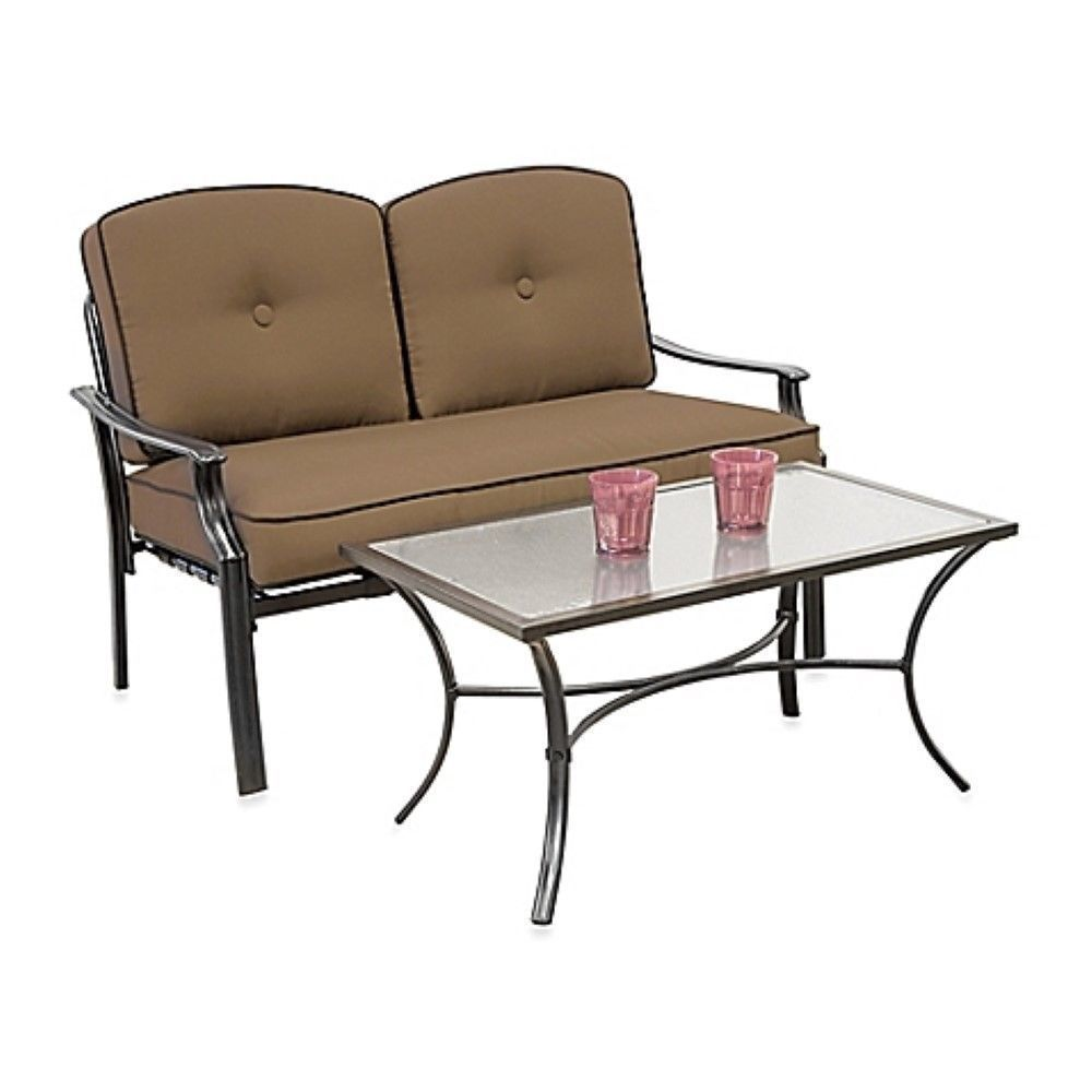 outdoor patio furniture padded 2 piece tan loveseat set yard porch