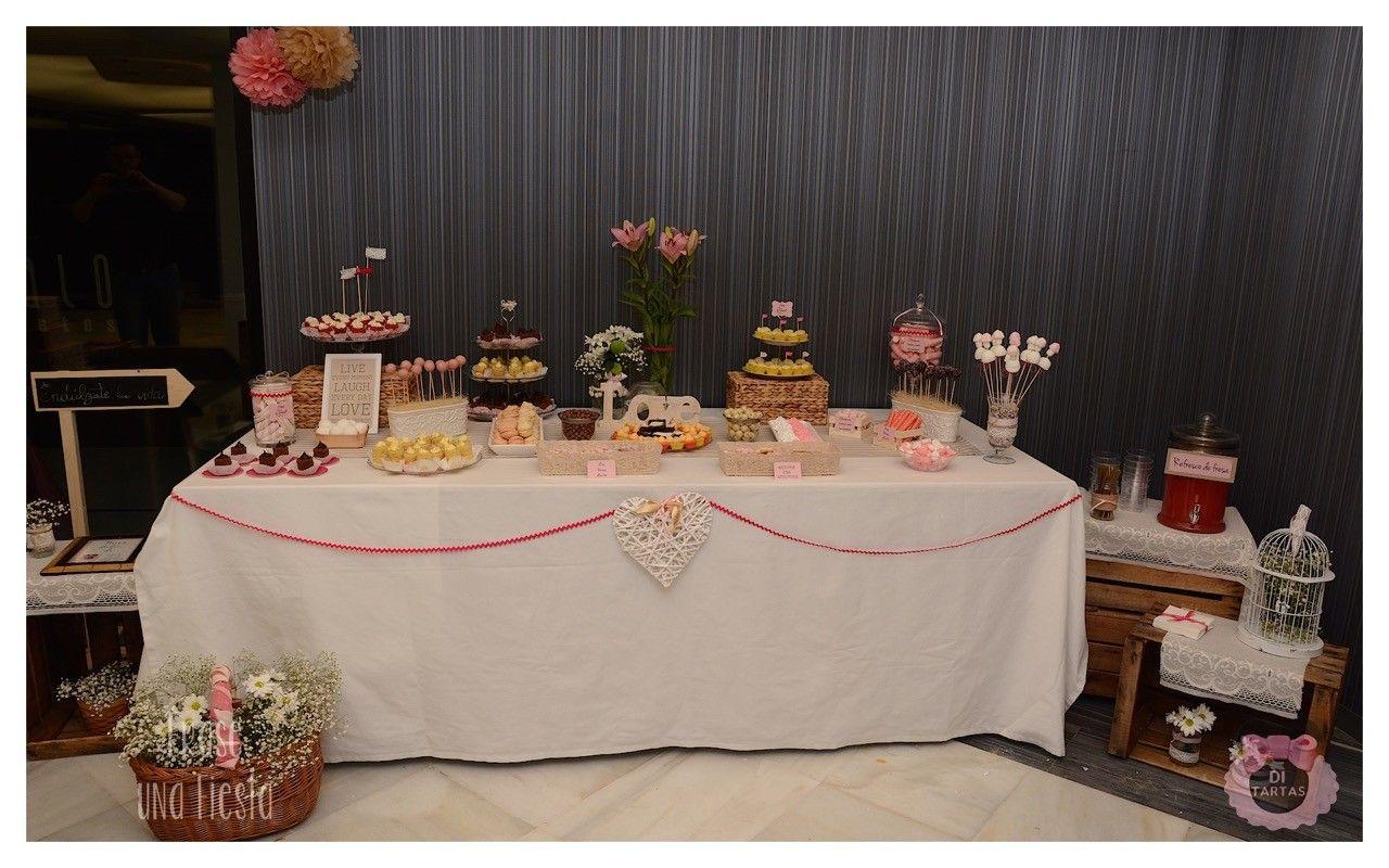 Mesa dulce para boda elegante en tonos rosa palo y beig - Mesa de dulces para bodas ...