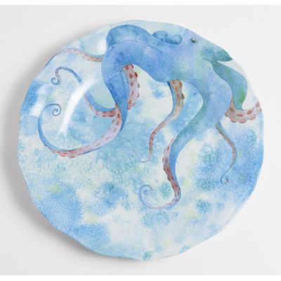 """Galleyware  Company Yacht and Home 9"""" Octopus Melamine Non-Skid Salad/Dessert Plate"""