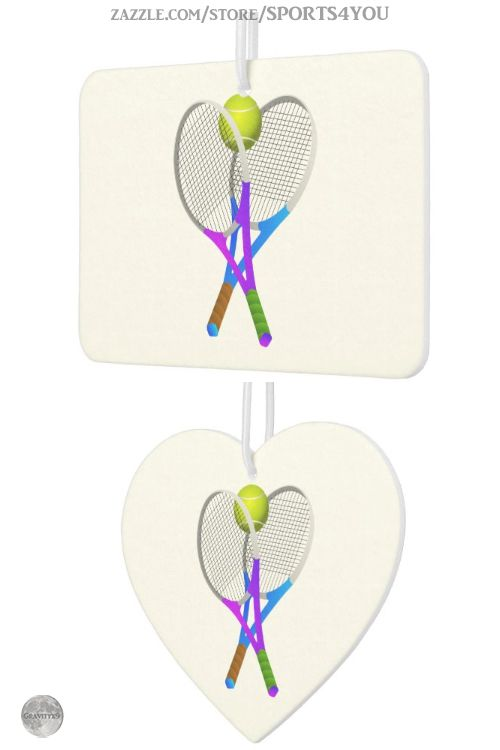 * Tennis Ball and Rackets Car Air Freshener by #Sports4you at Zazzle #Gravityx9 * Hey Tennis Fans! You can customize this item by adding text, a photo or resize the image, add background color or text, too! * Several fragrances to choose from. * car air freshener * car accessories * car air freshener hanging * auto air freshener * automobile supplies * fresh car smell * odor eliminator * auto supplies * #carfreshener #airfreshener #odoreliminator #autosupplies #carsupplies #tennis 0320