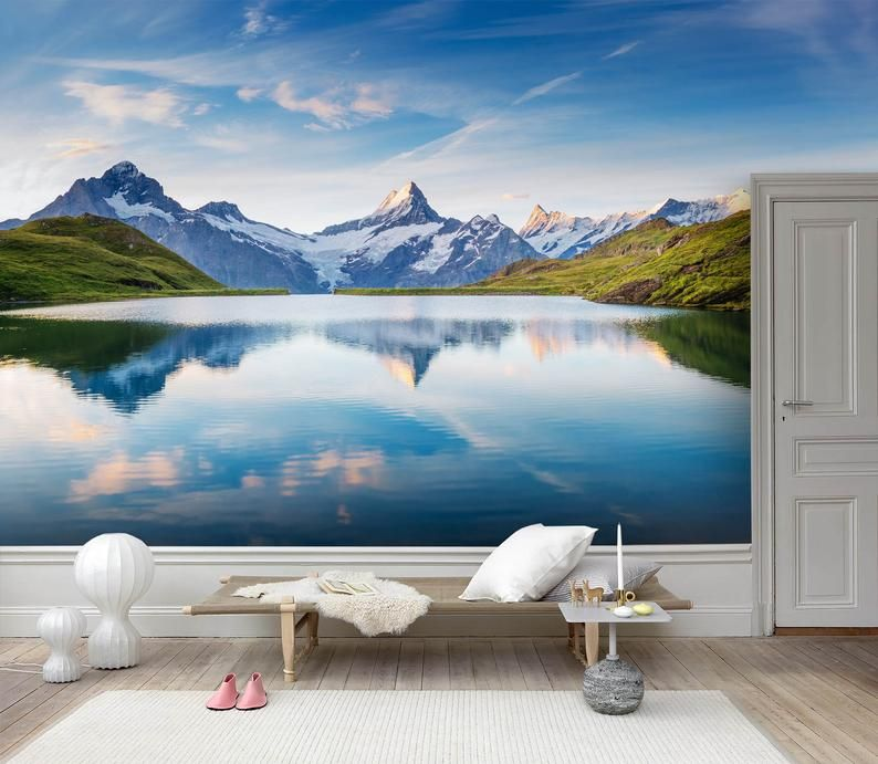 3d Calm Lake Mountain Scenery Wallpaper Removable Self Adhesive Wallpaper Wall Mural Vintage Art Peel And Stick Scenery Wallpaper Mural Wallpaper Wall Murals