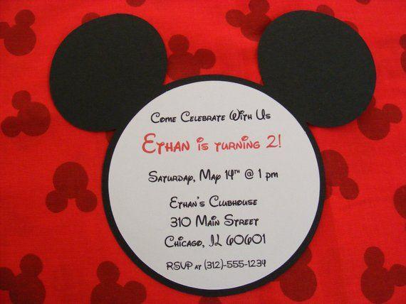 Handmade Mickey Invitations Mickey Mouse Inspired Birthday