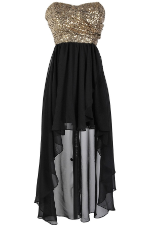 Sz 10 12 Black Gold Sequin Hi Lo Strapless Cocktail Club Dance Party Prom Dress