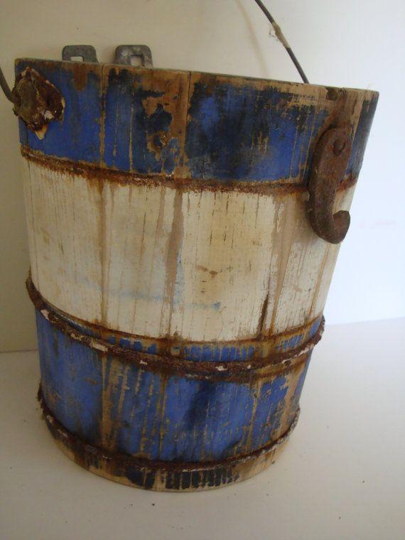 Vintage Wooden Milk Pail Or Bucket Primitive Shabby Chic Rare Blue