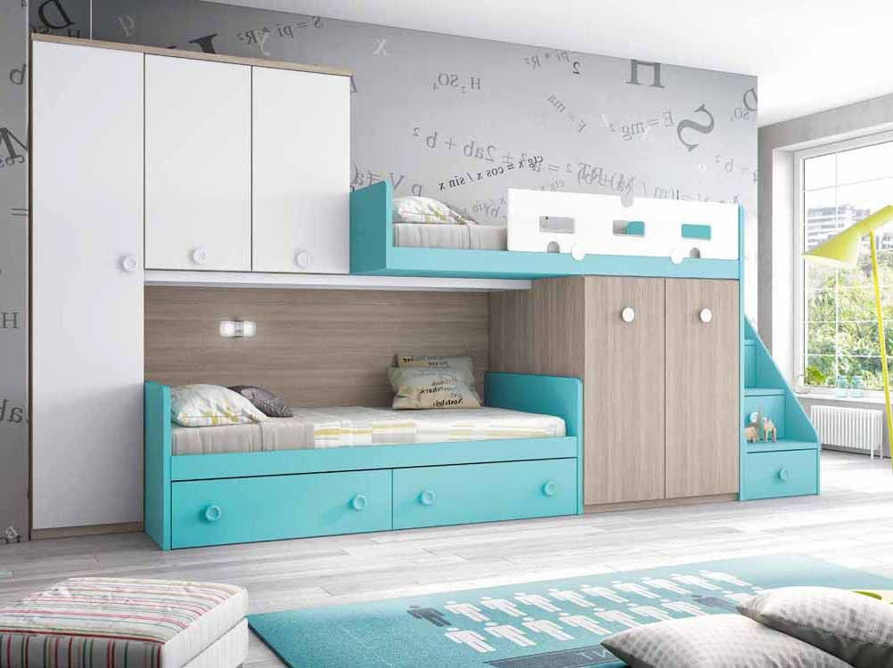 Foto de literas con escritorio debajo camas en 2019 for Dormitorios con literas