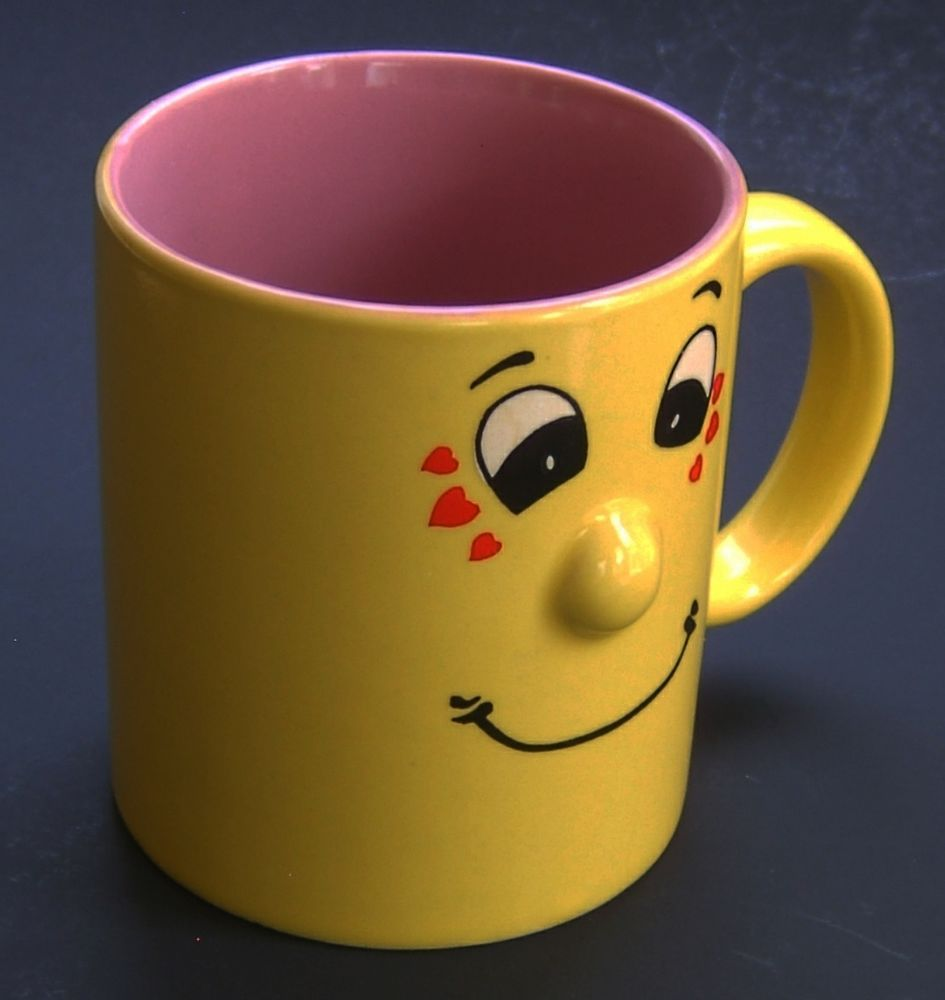 Smiling Funny Face Coffee Mug Type Condition Used No Chips S Or Crazing Very Light Use Top Diameter 3 Cm