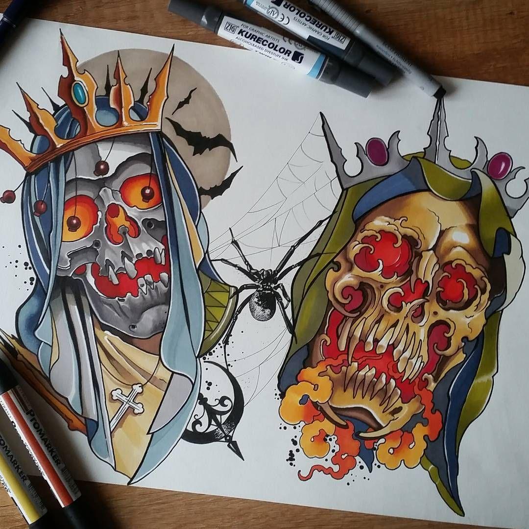 Traditional Flash Skull Tattoos: Черепа зомби Horror