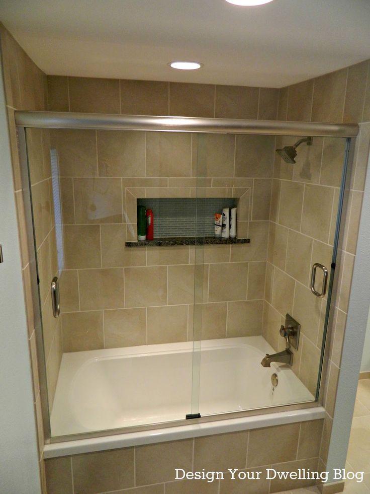 Tiled Shower Tub Combo With Sliding Glass Shower Door