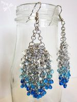 Feather Shaped Earrings in Blended Shades of Blue by ASilverDragonfly