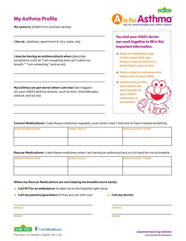 If Your Child Has Asthma You Can Fill Out This My Asthma Profile