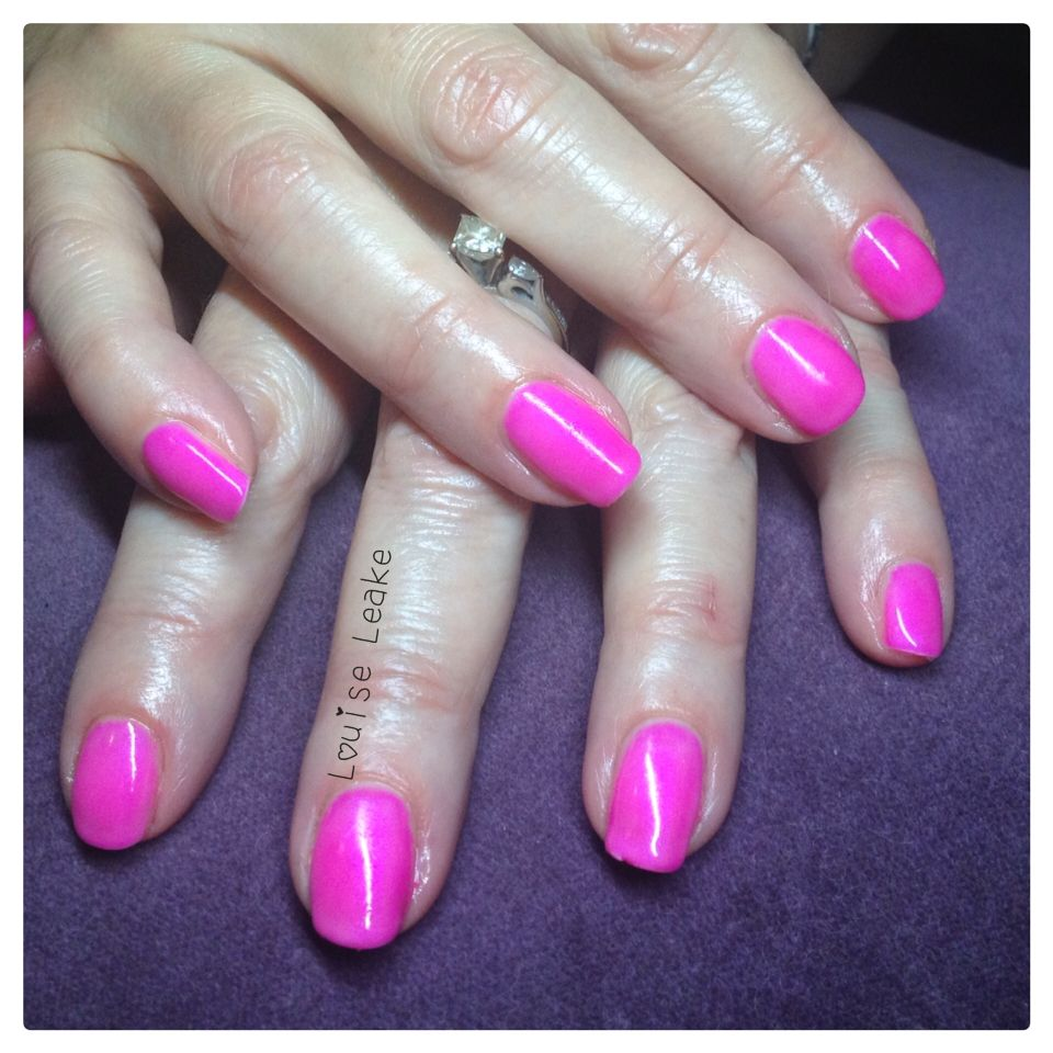 Neon pink shellac nails with negligee overlay | Shellac Nails