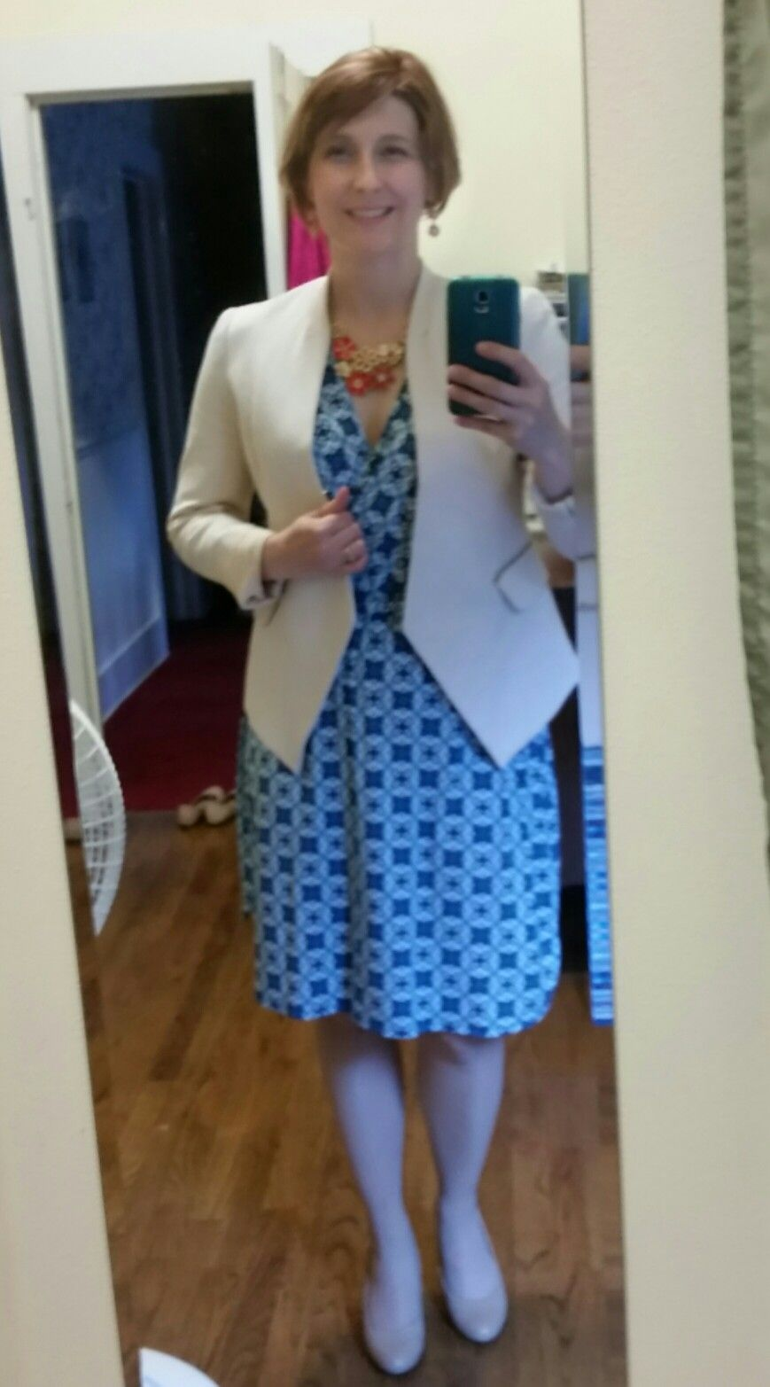 08138d64be71 My May @stitchfix Fix: Market and Spruce Kessie knit faux wrap dress with  Pixley Tumara knit collarless blazer. Necklace from Kohl's, Ana nude wedges  from ...