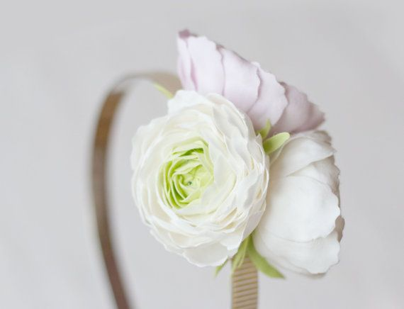 Ranunculus Headband White Lilac Flower By Gentledecisions On Etsy 45 00 Lilac Flowers White Headband Lilac