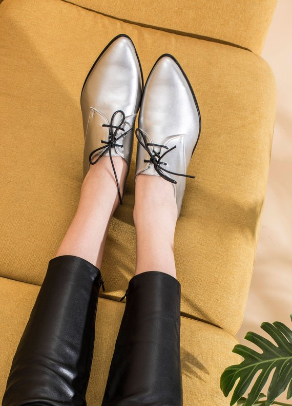 e851ed9afc Women Silver Shoes, Metallic Oxfords, Silver Oxfords, Vegan Shoes, Women's  Custom Shoes, Lace Up Sho