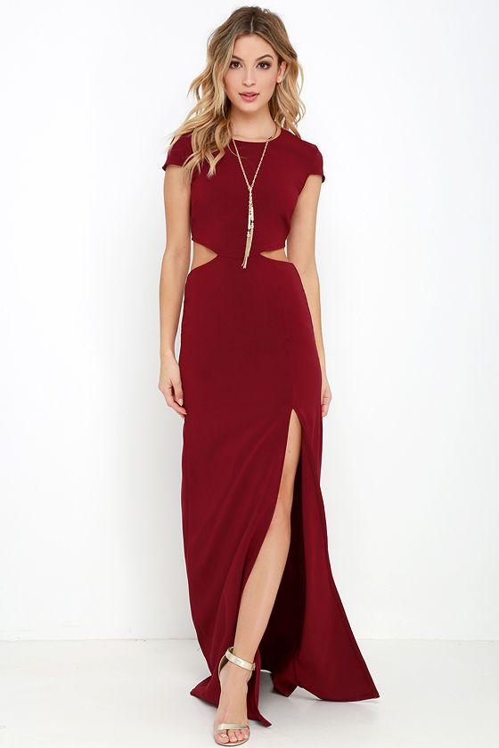 275df904bc Conversation Piece Wine Red Backless Maxi Dress in 2019