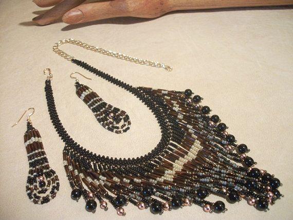 Conjunto de joyería de abalorios en ónice negro cobre por Rs4U