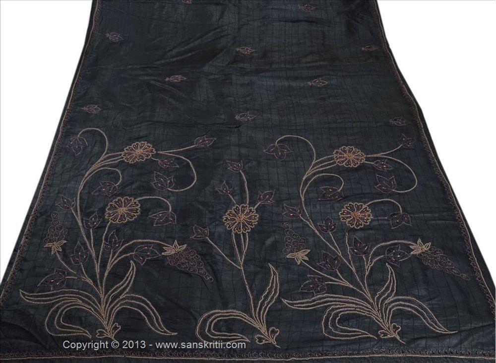 SANSKRITI VINTAGE INDIAN SAREE GRAYISH BLACK PURE SILK SARI FABRIC HAND BEADED