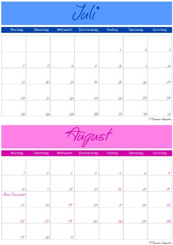 Kalender 2016 zum Ausdrucken - Juli & August - A5-Format - Vorlage 1 ...