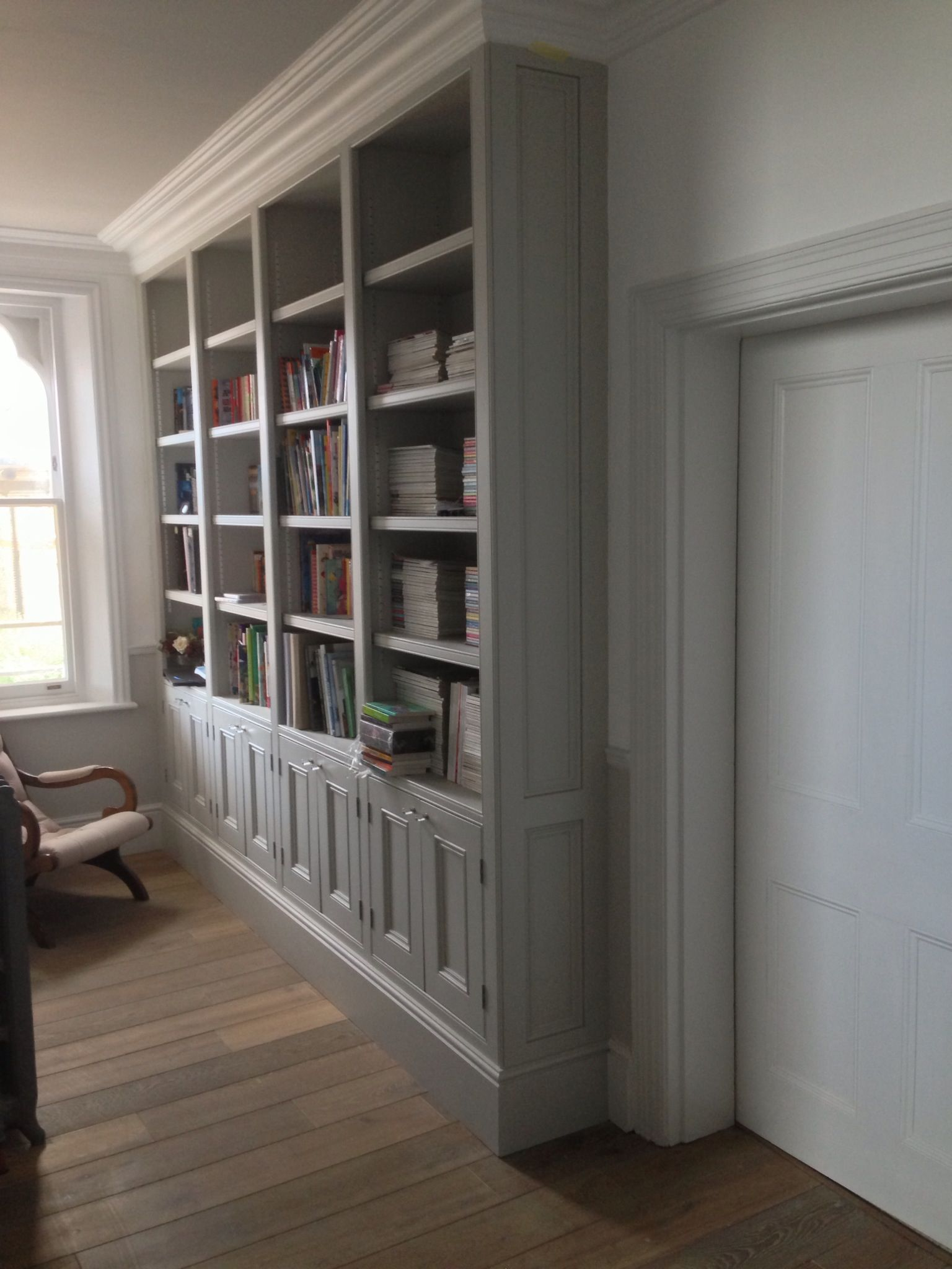 Victorian bookcase built in situ for a large opulent Kent