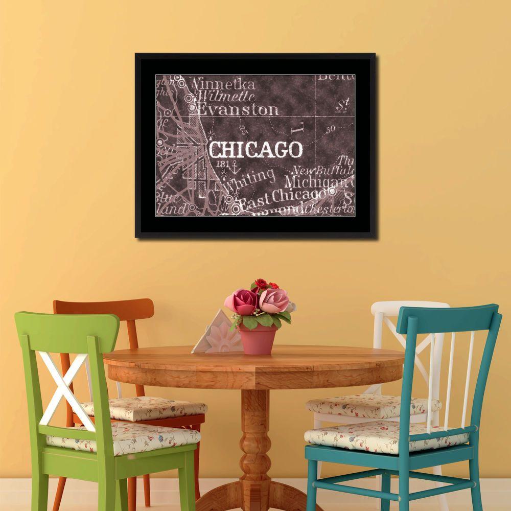 Home interior design maps chicago illinois vivid sepia map art frame canvas print home décor