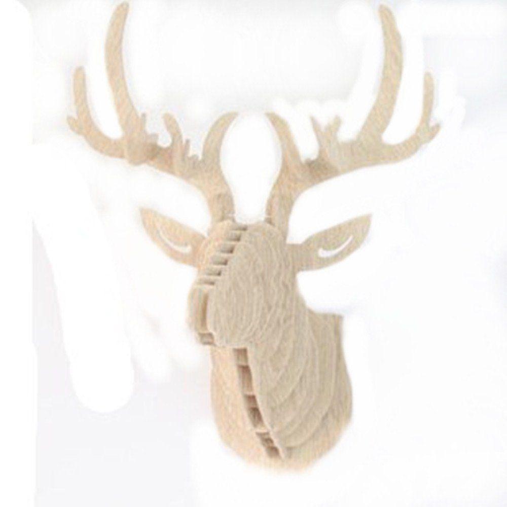 Generic unique d wooden deer model wall hanging animal wildlife