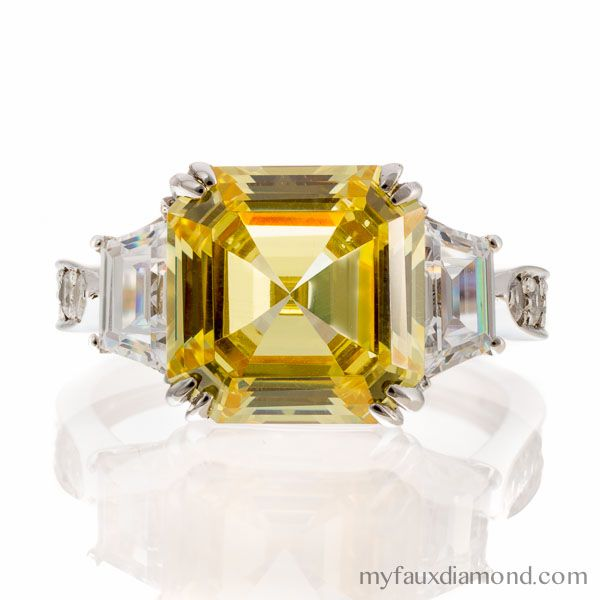 My Faux Diamond Offers A Large Collection Of Cubic Zirconia Engagement Rings Including This 5 Carat Canary Cher Cut Ring