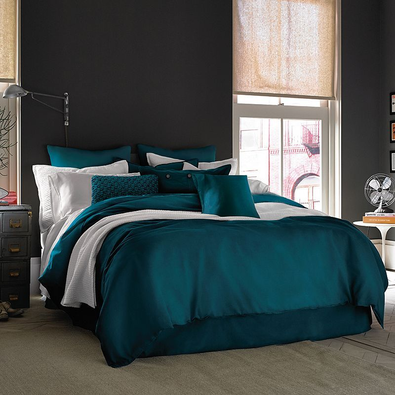 Kenneth Cole Reaction Home Mineral Duvet Cover King Size Duvet - Dark teal bedding