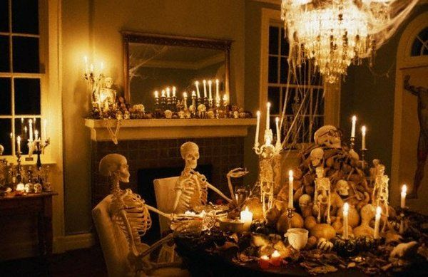 Scary Halloween Party Decoration Ideas Dining Room Table Skeletons