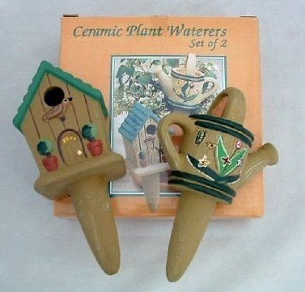 New Ceramic Plant Waterers Set of 2, Hand Painted, Water Garden, Herbs