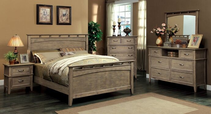 Cm7351 5 pc loxley transitional style weathered oak finish - Transitional style bedroom furniture ...