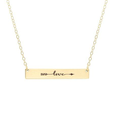 Anavia Love Arrow Inspirational Stainless Steel Gold Bar Necklace