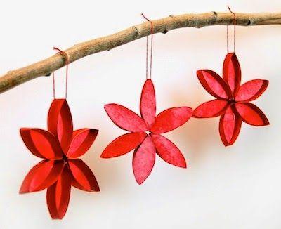 Adornos navideños con tubos de papel higiénico flores Pinterest