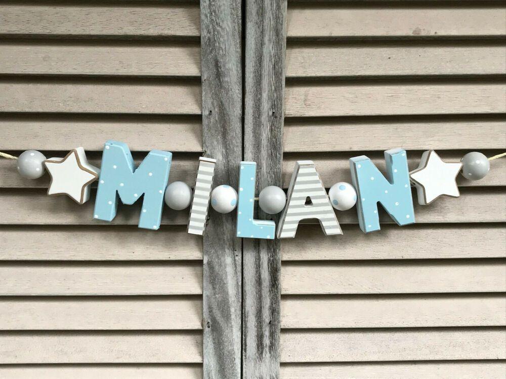 """""""MILAN"""" NAMENSKETTE HOLZBUCHSTABEN KINDERZIMMER DEKO GRAU"""