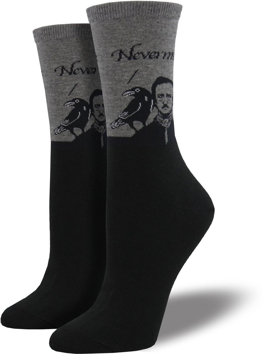 d84303c09 These literature socks for women feature Edgar Allen Poe and his raven  saying