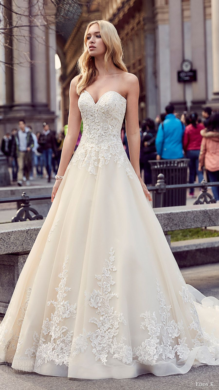 Lace ball gown wedding dresses  eddy k milano bridal  strapless sweetheart lace ball gown